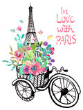 Eiffel tower with watercolor flowers Royalty Free Stock Photo