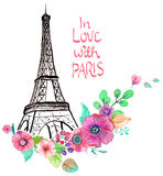 Eiffel tower with watercolor flowers. Colorful illustration for beautiful design Royalty Free Stock Photos