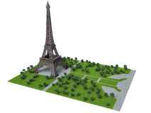 Eiffel Tower on a white background. 3d illustration Stock Photos