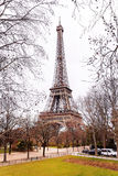 Eiffel Tower is in the winter day. Royalty Free Stock Photo