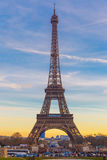 Eiffel tower at winter suset in Paris, France Royalty Free Stock Photos