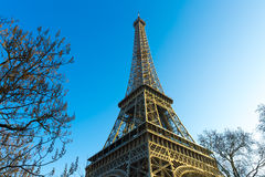 Eiffel Tower at winter time in Paris, France Stock Photos