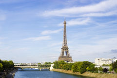 Eiffel Towerfrom the view over Siene, Paris, France Royalty Free Stock Photo