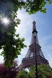 Eiffel towers and street lamp stock images