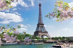 Eiffel turnerar över Seine River Fotografering för Bildbyråer