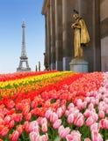 Eiffel turnerar och statyer av Trocadero Arkivbild