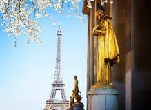Eiffel turnerar och statyer av Trocadero Royaltyfri Foto