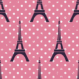 Eiffel. Vector seamless pattern with polka dot background and Eiffel Tower vector illustration
