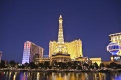Eiffel Vegas Dusk Reflection Royalty Free Stock Photography