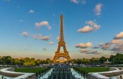 Eiffel view. Eiffel Tower, sunset, night and beautiful royalty free stock photo