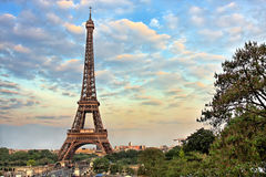 eiffel wieczór Paris wierza Obraz Royalty Free