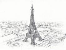 Eiffeltorn för blyertspennateckning Royaltyfri Fotografi
