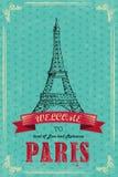 Eiffeltorn för Retro loppaffisch Arkivfoton
