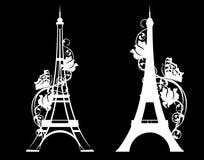 Eiffeltorn med den vita vektorkonturn för blom- dekor royaltyfri illustrationer