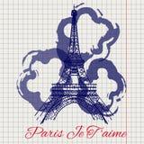 Eiffeltorn- och abstrakt begreppblommor skissar stock illustrationer