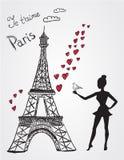 Eiffeltorn och flicka Arkivfoto