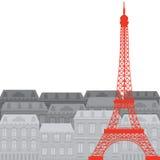 Eiffeltorn på bakgrunden av staden Arkivfoton