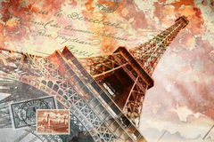 Eiffeltorn Paris, abstrakt digital konst stock illustrationer