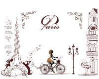 Eiffeltorn som dekoreras med den musikaliska notsystemet, anmärkningar, musiker Royaltyfri Bild