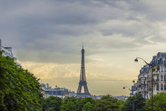 EiffeltornParis horisont Frankrike Arkivbilder