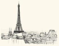 Eiffelturm über Dächern von Paris lizenzfreie abbildung