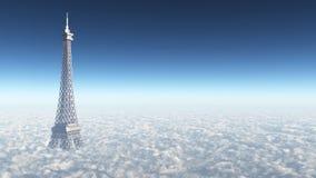 Eiffelturm über den Wolken stock abbildung