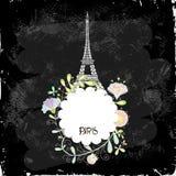 Eiffelturm auf einem schwarzen Hintergrundbrett lizenzfreie abbildung
