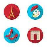 Eiffelturm, Bürste, Hut Vector gesetzte Sammlungsikonen Frankreich-Landes in der flachen Art Illustrationsnetz des Symbols auf La Stockbild