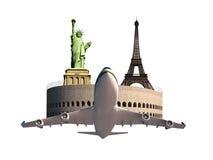 Eiffelturm-Kolosseum-Freiheitsstatue Flugzeug lizenzfreie stockbilder