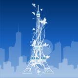 Eiffelturm lokalisiert über dem weißen Hintergrund lizenzfreie abbildung