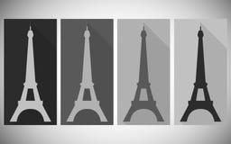 Eiffelturm mit einem langen Schatten Ikonen in einer flachen Art Lizenzfreie Abbildung