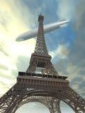 Eiffelturm mit Luftschiff lizenzfreie abbildung