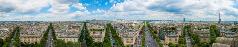 Eiffelturm Panoramaansicht Arc de Triomphe -Triumph Paris Frankreich lizenzfreie stockfotos