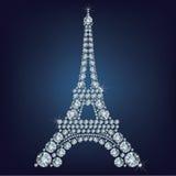 Eiffelturm - Paris bildete viele Diamanten stock abbildung