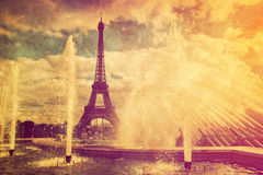 Eiffelturm in Paris, Fance in der Retro Art. stockbilder