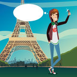 Eiffelturm selfie Stockfoto