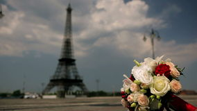 Eiffelturm und Blumen stock video footage