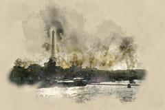 Eiffelturm und Fluss die Seine in der Hintergrundbeleuchtung Lizenzfreies Stockbild
