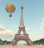Eiffelturm und Heißluftballon der Fantasie lizenzfreie abbildung