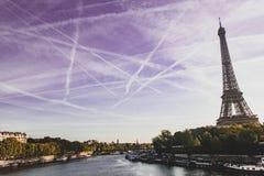 Eiffelturm und Wadenetz in Paris stockfotos