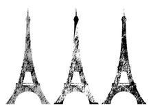 Eiffelturmschmutzartschattenbildvektor-Designsatz Stockbild