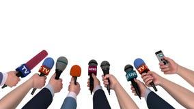 Eifrige Reporter mit Mikrophonen in ihren Händen, 3D Animation, Alphakanal stock video footage