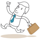 Eifriger Geschäftsmann, der mit Aktenkoffer läuft Stockfoto