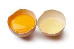 Eigelb und Weiß in einer defekten Eierschale lizenzfreie stockfotografie
