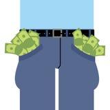 In eigen zak steekt veel geld Jeanshoogtepunt van contant geld Stock Afbeeldingen