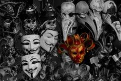 Eigenaardige Maskers in Venetië Royalty-vrije Stock Afbeeldingen