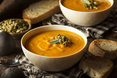 Eigengemaakt Autumn Butternut Squash Soup Royalty-vrije Stock Foto