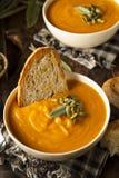 Eigengemaakt Autumn Butternut Squash Soup Royalty-vrije Stock Afbeeldingen