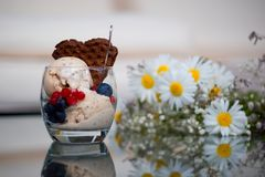 Eigengemaakt banaanroomijs met chia-zaden, yoghurt en een chocoladewafel royalty-vrije stock afbeeldingen