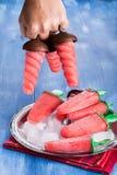 Eigengemaakt de watermeloenroomijs van de watermeloenijslolly royalty-vrije stock foto